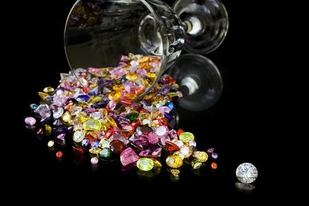 Diamond And Gems From Wine Glass photo