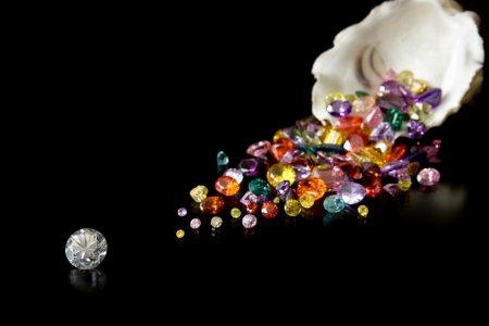 Diamante y gemas de Oyster Foto de archivo