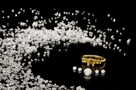 diamante negro: Diamond configuraci�n de anillo con piedras sueltas
