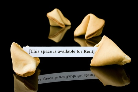 Fortune cookie   This space is available for Rent  Stock Photo