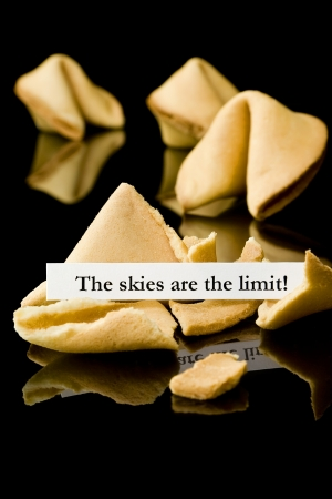Fortune cookie   The skies are the limit Stock Photo - 12433073