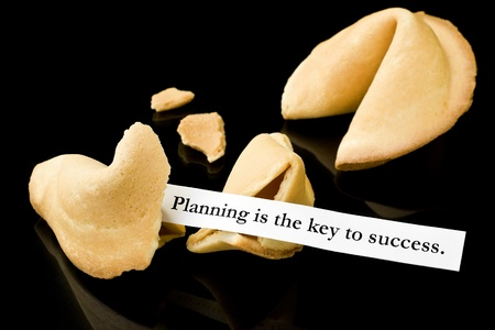 Fortune cookie   Planning is the key to success   Stok Fotoğraf