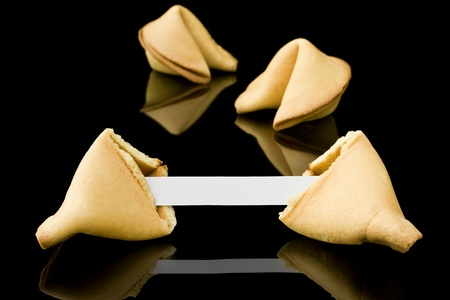 Fortune cookie with a blank message photo