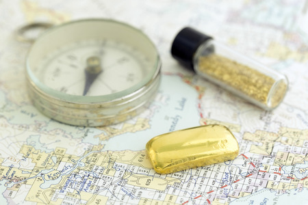 prospecting: Antique Compass, Prospecting Map, And Gold