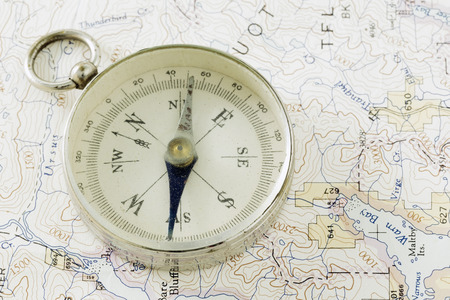 prospecting: Antique Compass and Prospecting Map