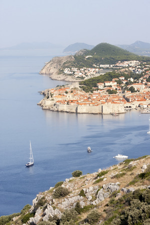 Scenic aerial view of the walled city of Dubrovnik in Croatia photo