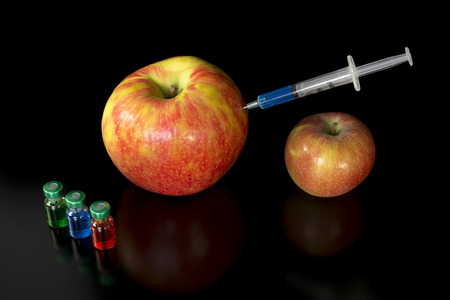 Normal and genetically modified apple with various compounds