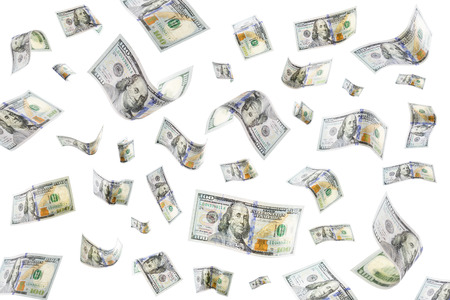 Floating 100 dollar bills on a white background photo