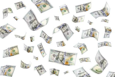 lloviendo: Flotante billetes de 100 dólares en un fondo blanco Foto de archivo