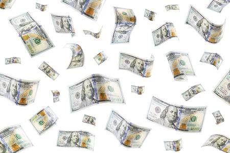 Floating 100 dollar bills on a white background photo
