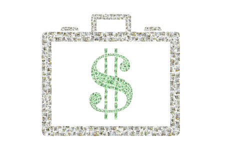 Briefcase with a Dollar sign made up of hundreds of individual bills Stok Fotoğraf