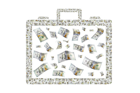 Hundreds of bills depicting a briefcase of money