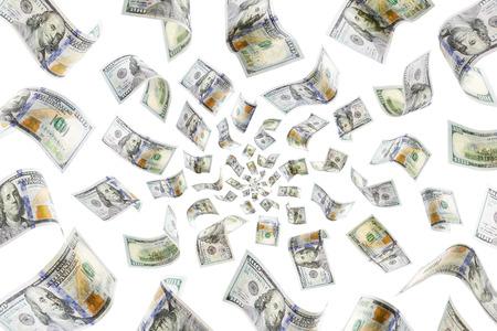 Raining 100 dollar bills on a white background