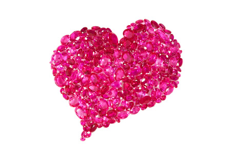 lapidary: Heart shape formed by a collection of precious red rubies Stock Photo