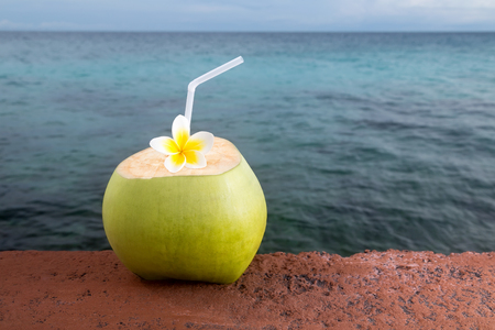 tropical drink: Refreshing tropical drink, with an island paradise in the background