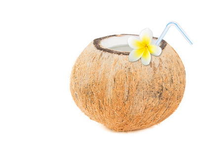 Refreshing tropical drink in a natural coconut Stok Fotoğraf