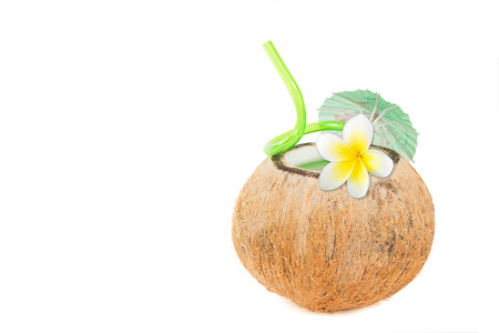 tropical drink: Refreshing tropical drink in a natural coconut Stock Photo