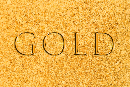 placer: A background consisting of natural placer gold nuggets Stock Photo