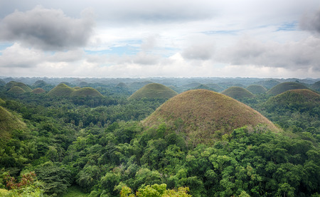 Geological conical hill formation on the island of Bohol in the Philippines