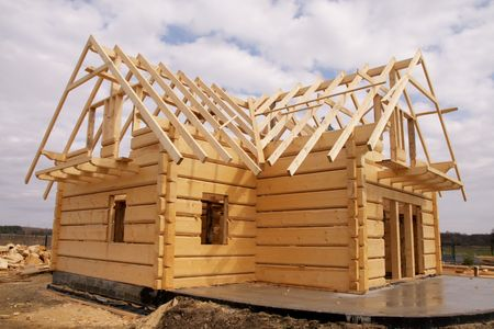 Ecological wooden house, building area and construction photo