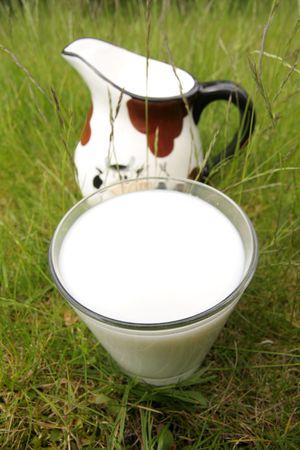 piebald: healthy ecological milk and  piebald pitcher, concept, idea Stock Photo