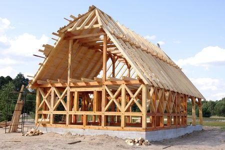 Ecologische houten huis, gebouw gebied en de bouw Stockfoto