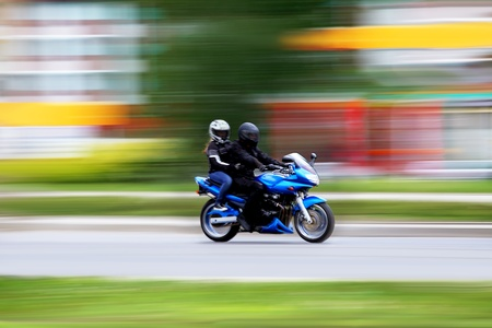 Blur motorcycle, couple, travel and lifestyle