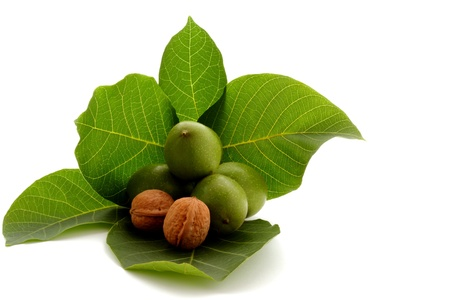 hardiness: Time for autumn fruits, walnut on green, creative and healthy food