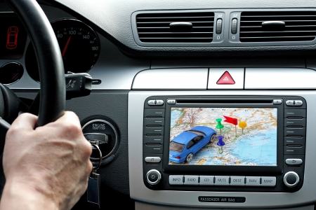 car navigation: Car dashboard with gps panel, travel and technology background