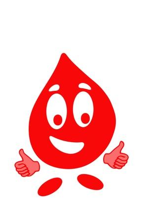 Glimlachend druppel bloed cel in gebaren ok, gezondheid concept