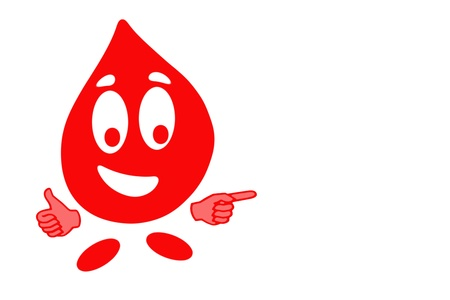 clean blood: Smiling drop of blood cell in gesturing ok, health concept Stock Photo