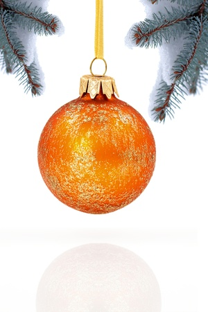new year tree: Christmas evergreen spruce tree and glass ball on snow background Stock Photo