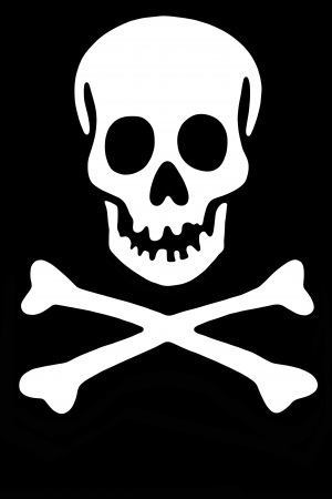 peril: Skull with crossed bones, Black Rogger Stock Photo