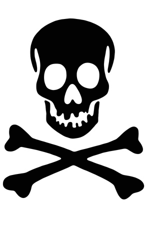 roger: Skull with crossed bones, Black Rogger Stock Photo