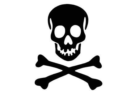 terribly: Skull with crossed bones, Black Rogger Stock Photo