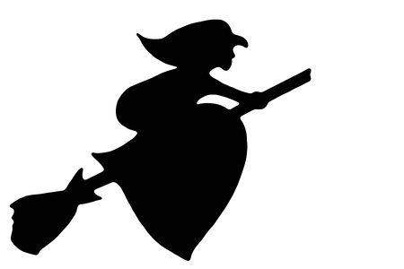 broomstick: Black  silhouette witches flying on a broomstick on white