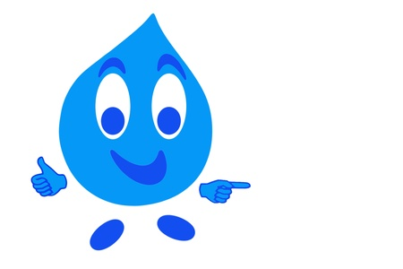 iso: Smiling drop of water in gesturing OK, quality concept Stock Photo