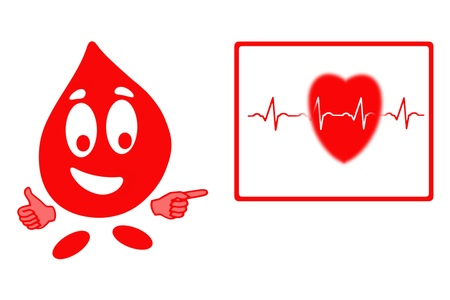 clean blood: Smiling drop of blood cell in gesturing ok and blackboard with heart and ecg chart, health concept