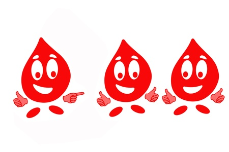 Smiling drop of blood cell in gesturing OK, health concept photo