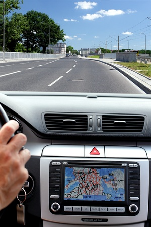 car navigation: Small part of car dashboard with gps panel
