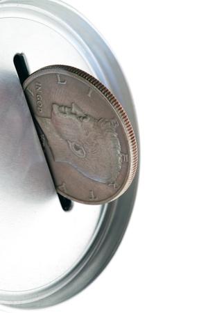 Tin money box bank  dollar coin photo