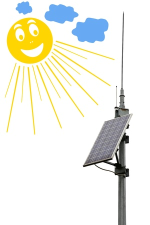 photocell: Solar panel battery and the smiling sun