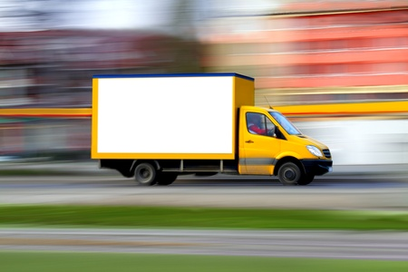 panning: Speedy  van always is  on time, panning and blur