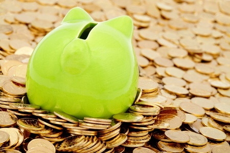 Green piggy bank and sea of  gold money photo