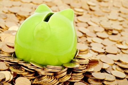 Groene spaarpot en de zee van goud geld Stockfoto