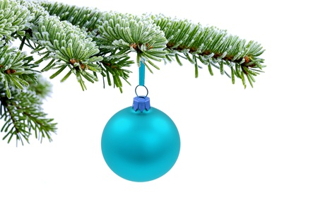 Christmas evergreen spruce tree and blue glass balls on snow background photo