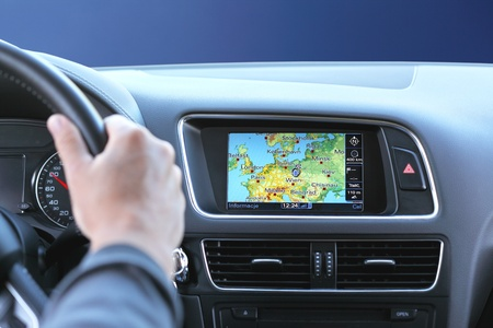 car navigation: Night travel by car with gps system