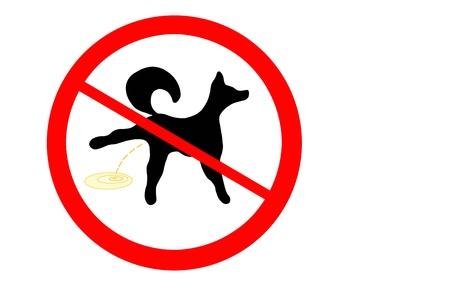 divieto: Segnale di divieto di piscio di cane Archivio Fotografico