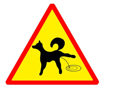 urinate: Sign attention to the dogs pissing Stock Photo