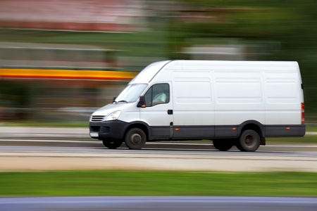Blur speedy  white van Stock Photo - 10970561